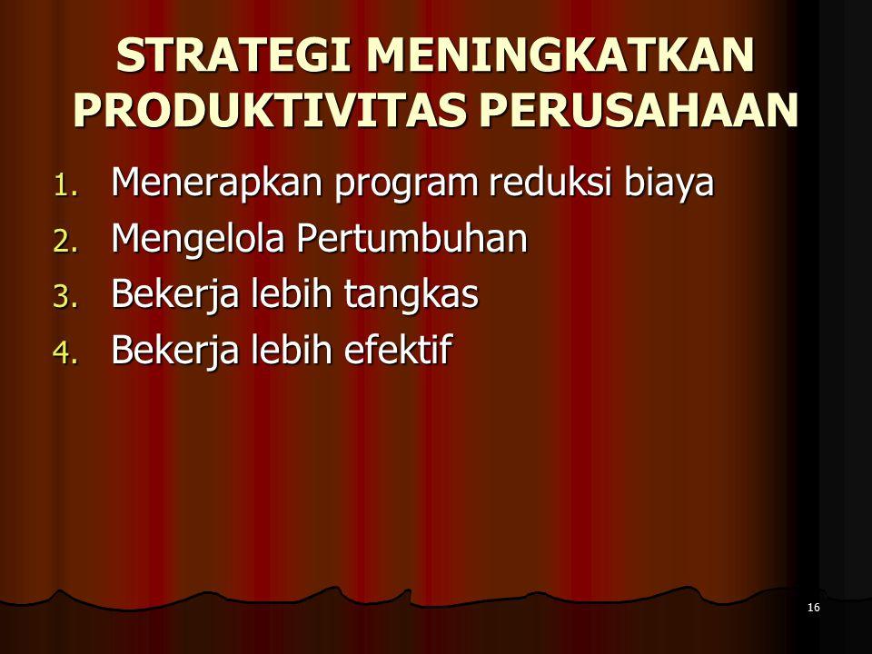 16 STRATEGI MENINGKATKAN PRODUKTIVITAS PERUSAHAAN 1.