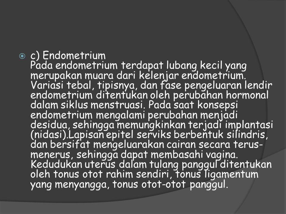  c) Endometrium Pada endometrium terdapat lubang kecil yang merupakan muara dari kelenjar endometrium. Variasi tebal, tipisnya, dan fase pengeluaran