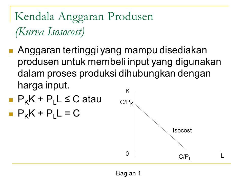 Bagian 1 Kendala Anggaran Produsen (Kurva Isosocost) Anggaran tertinggi yang mampu disediakan produsen untuk membeli input yang digunakan dalam proses produksi dihubungkan dengan harga input.