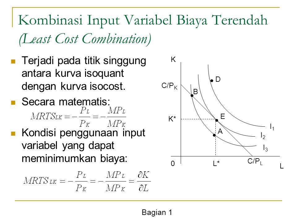 Bagian 1 Kombinasi Input Variabel Biaya Terendah (Least Cost Combination) Terjadi pada titik singgung antara kurva isoquant dengan kurva isocost. Seca