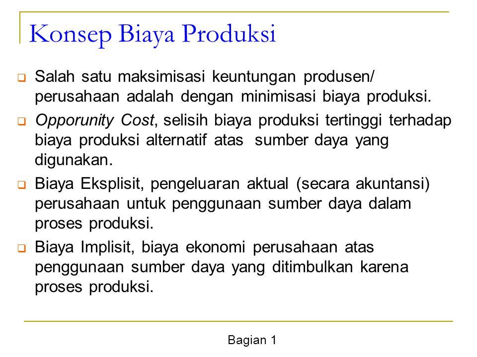 Bagian 1 Konsep Biaya Produksi  Salah satu maksimisasi keuntungan produsen/ perusahaan adalah dengan minimisasi biaya produksi.  Opporunity Cost, se