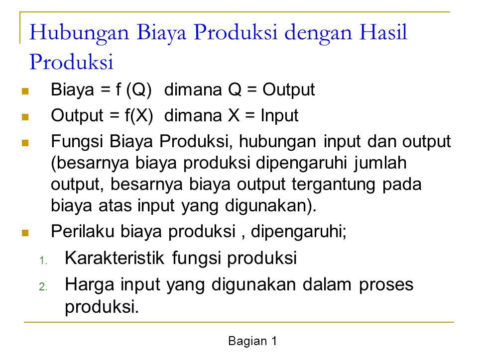 Bagian 1 Hubungan Biaya Produksi dengan Hasil Produksi Biaya = f (Q)dimana Q = Output Output = f(X)dimana X = Input Fungsi Biaya Produksi, hubungan input dan output (besarnya biaya produksi dipengaruhi jumlah output, besarnya biaya output tergantung pada biaya atas input yang digunakan).