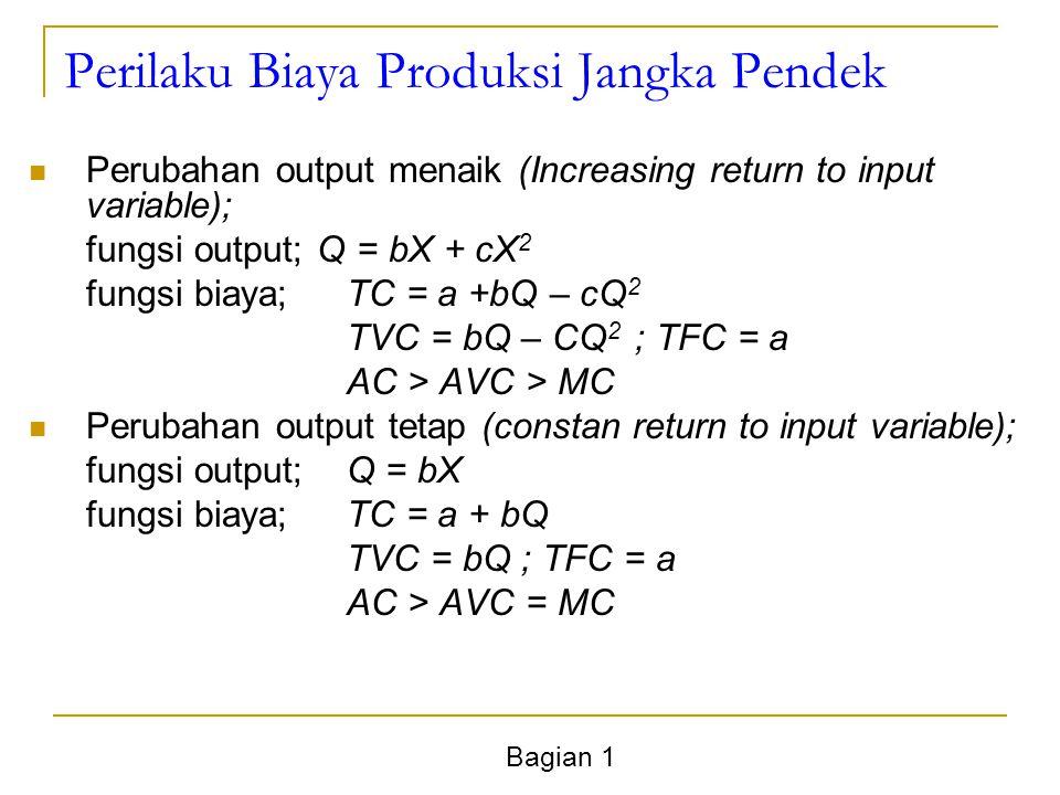 Bagian 1 Perilaku Biaya Produksi Jangka Pendek Perubahan output menaik (Increasing return to input variable); fungsi output; Q = bX + cX 2 fungsi biaya;TC = a +bQ – cQ 2 TVC = bQ – CQ 2 ; TFC = a AC > AVC > MC Perubahan output tetap (constan return to input variable); fungsi output;Q = bX fungsi biaya;TC = a + bQ TVC = bQ ; TFC = a AC > AVC = MC