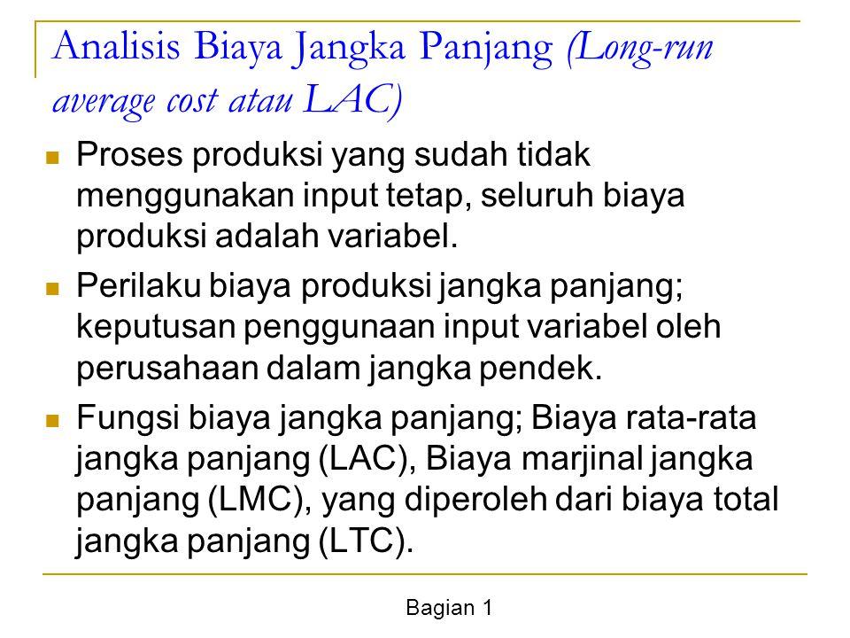 Bagian 1 Analisis Biaya Jangka Panjang (Long-run average cost atau LAC) Proses produksi yang sudah tidak menggunakan input tetap, seluruh biaya produksi adalah variabel.