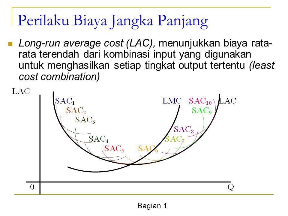 Bagian 1 Perilaku Biaya Jangka Panjang Long-run average cost (LAC), menunjukkan biaya rata- rata terendah dari kombinasi input yang digunakan untuk menghasilkan setiap tingkat output tertentu (least cost combination)