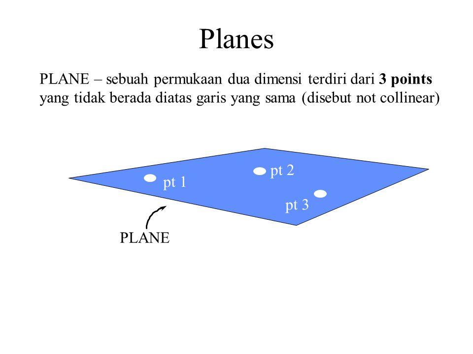 PLANE PLANE – sebuah permukaan dua dimensi terdiri dari 3 points yang tidak berada diatas garis yang sama (disebut not collinear) pt 1 pt 2 pt 3 Plane