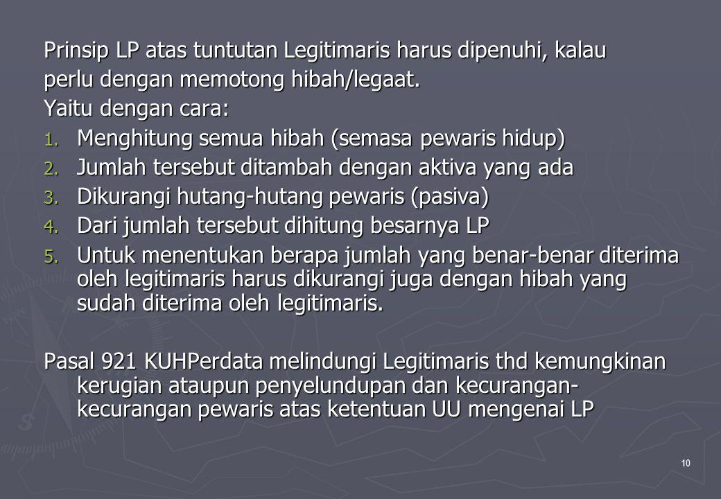 10 Prinsip LP atas tuntutan Legitimaris harus dipenuhi, kalau perlu dengan memotong hibah/legaat. Yaitu dengan cara: 1. Menghitung semua hibah (semasa