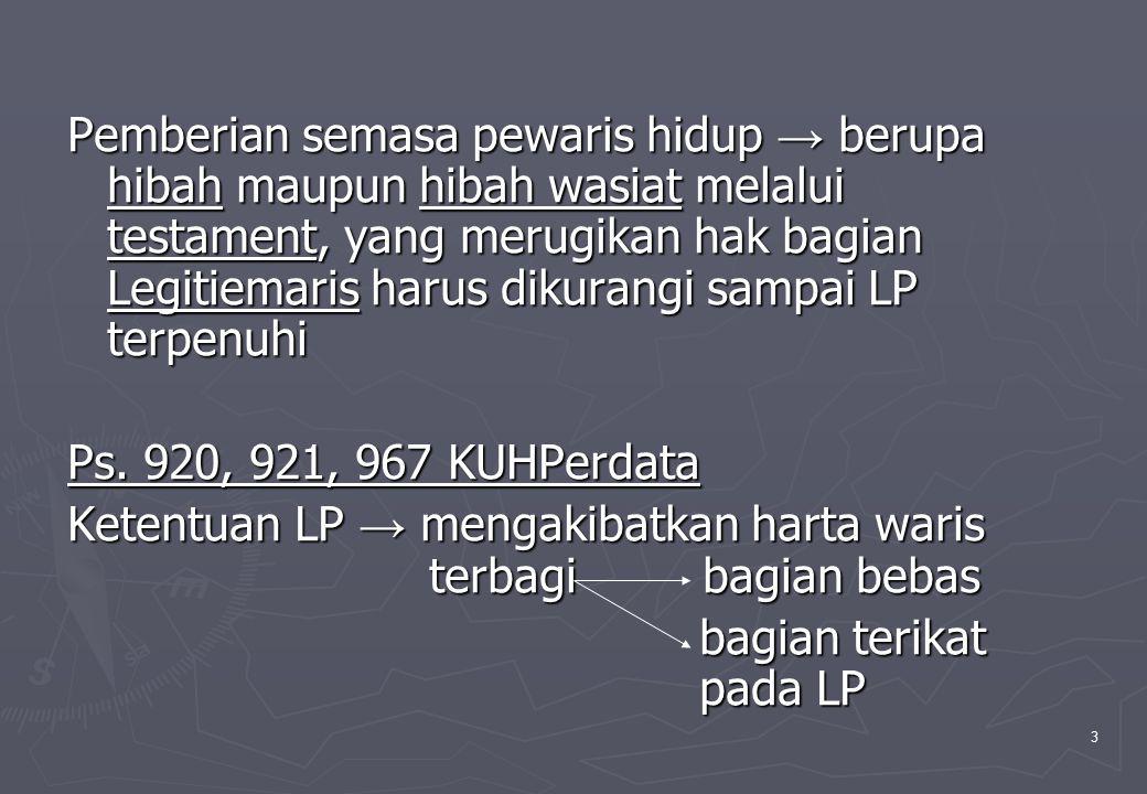 3 Pemberian semasa pewaris hidup → berupa hibah maupun hibah wasiat melalui testament, yang merugikan hak bagian Legitiemaris harus dikurangi sampai L