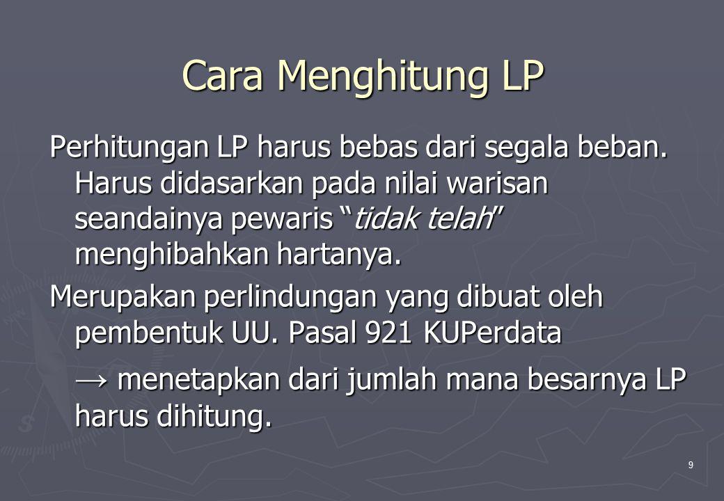 10 Prinsip LP atas tuntutan Legitimaris harus dipenuhi, kalau perlu dengan memotong hibah/legaat.