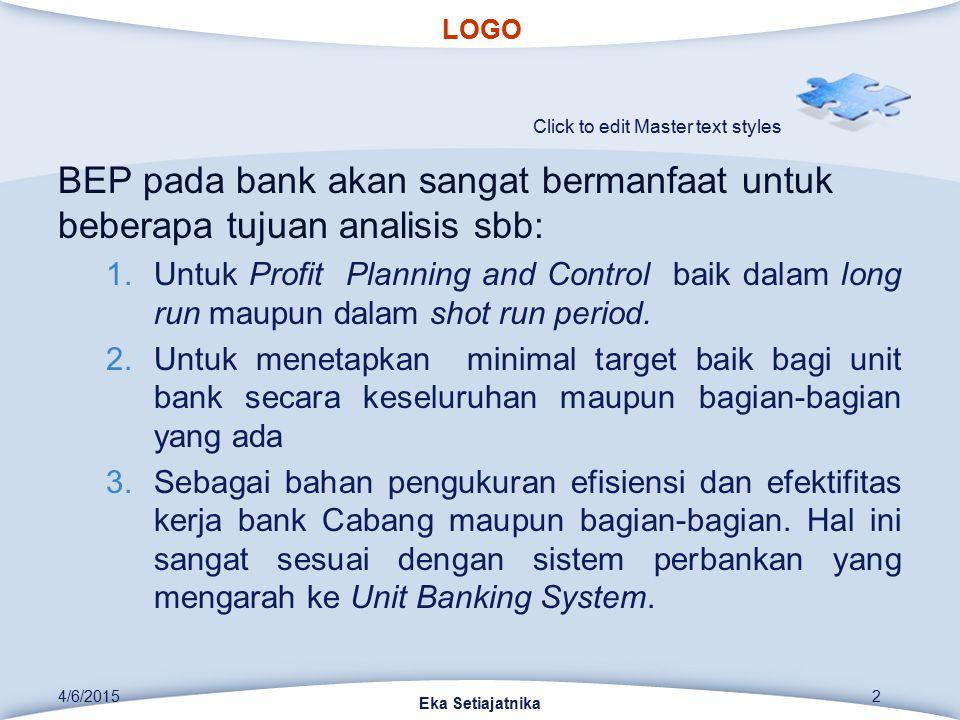 LOGO Click to edit Master text styles BEP pada bank akan sangat bermanfaat untuk beberapa tujuan analisis sbb: 1.Untuk Profit Planning and Control bai
