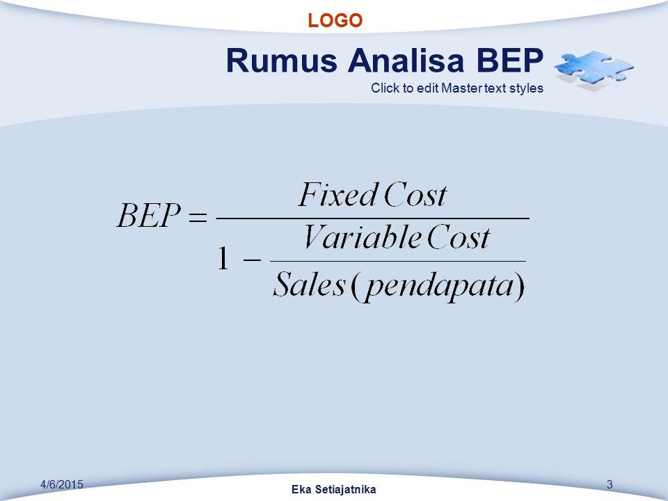 LOGO Click to edit Master text styles Rumus Analisa BEP Eka Setiajatnika 4/6/20153