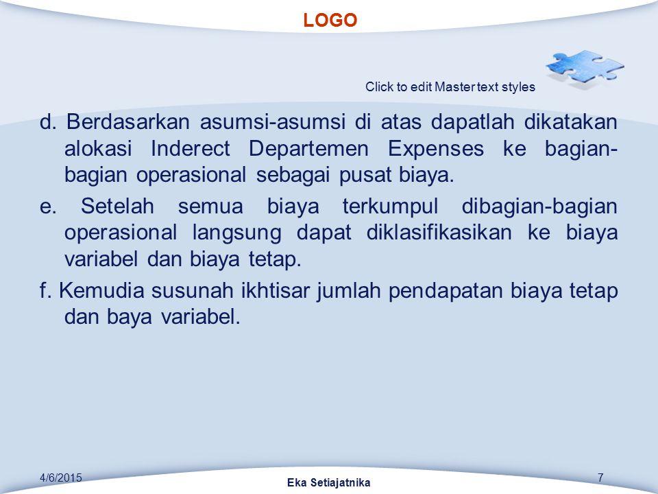 LOGO Click to edit Master text styles d. Berdasarkan asumsi-asumsi di atas dapatlah dikatakan alokasi Inderect Departemen Expenses ke bagian- bagian o
