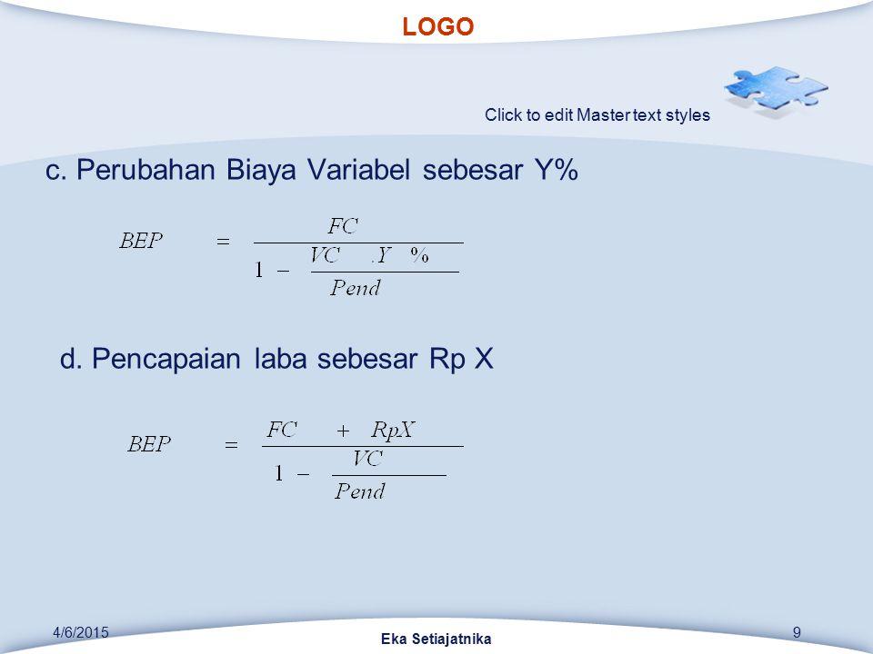 LOGO Click to edit Master text styles 4/6/2015 Eka Setiajatnika 9 c. Perubahan Biaya Variabel sebesar Y% d. Pencapaian laba sebesar Rp X