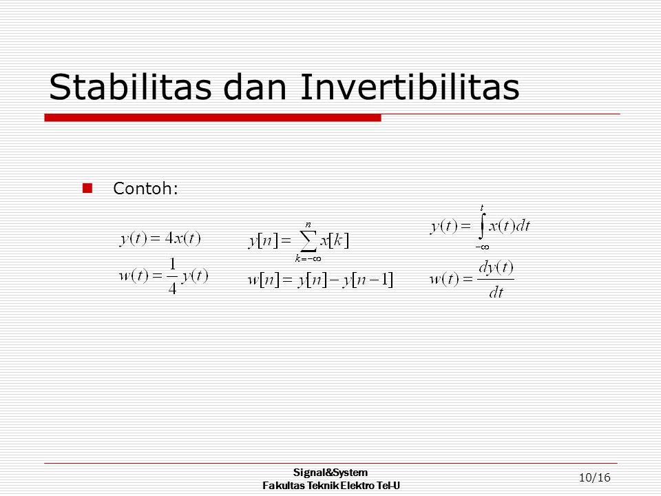 Signal&System Fakultas Teknik Elektro Tel-U 10/16 Stabilitas dan Invertibilitas Contoh: