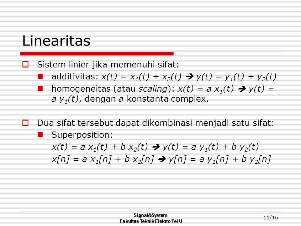 Signal&System Fakultas Teknik Elektro Tel-U 11/16 Linearitas  Sistem linier jika memenuhi sifat: additivitas: x(t) = x 1 (t) + x 2 (t)  y(t) = y 1 (