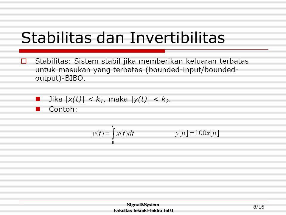 Signal&System Fakultas Teknik Elektro Tel-U 9/16 Stabilitas dan Invertibilitas  Invertibilitas: Sistem invertible jika input yang berbeda menghasilkan output yang berbeda.