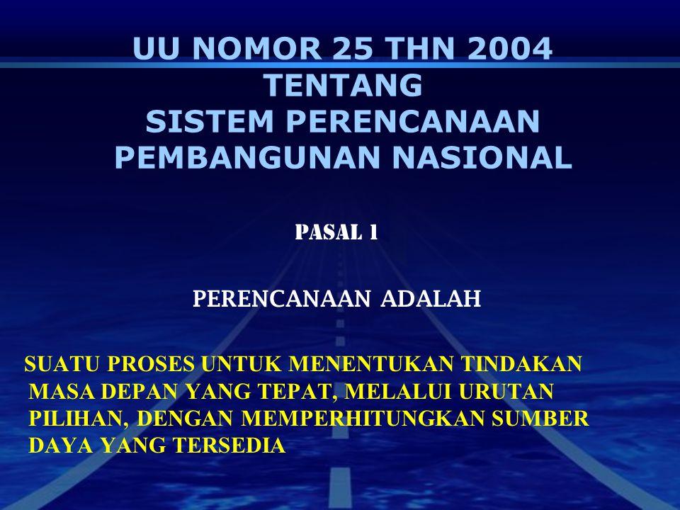 UU NOMOR 25 THN 2004 TENTANG SISTEM PERENCANAAN PEMBANGUNAN NASIONAL PASAL 1 PERENCANAAN ADALAH SUATU PROSES UNTUK MENENTUKAN TINDAKAN MASA DEPAN YANG