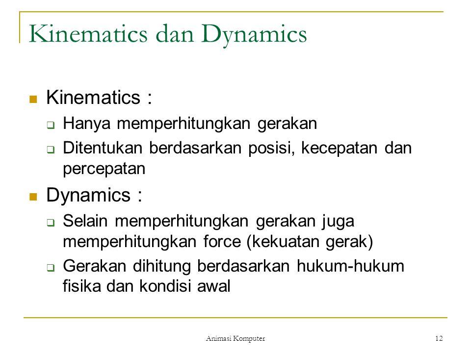 Animasi Komputer 12 Kinematics dan Dynamics Kinematics :  Hanya memperhitungkan gerakan  Ditentukan berdasarkan posisi, kecepatan dan percepatan Dyn