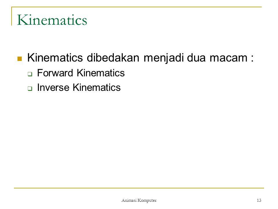 Animasi Komputer 13 Kinematics Kinematics dibedakan menjadi dua macam :  Forward Kinematics  Inverse Kinematics