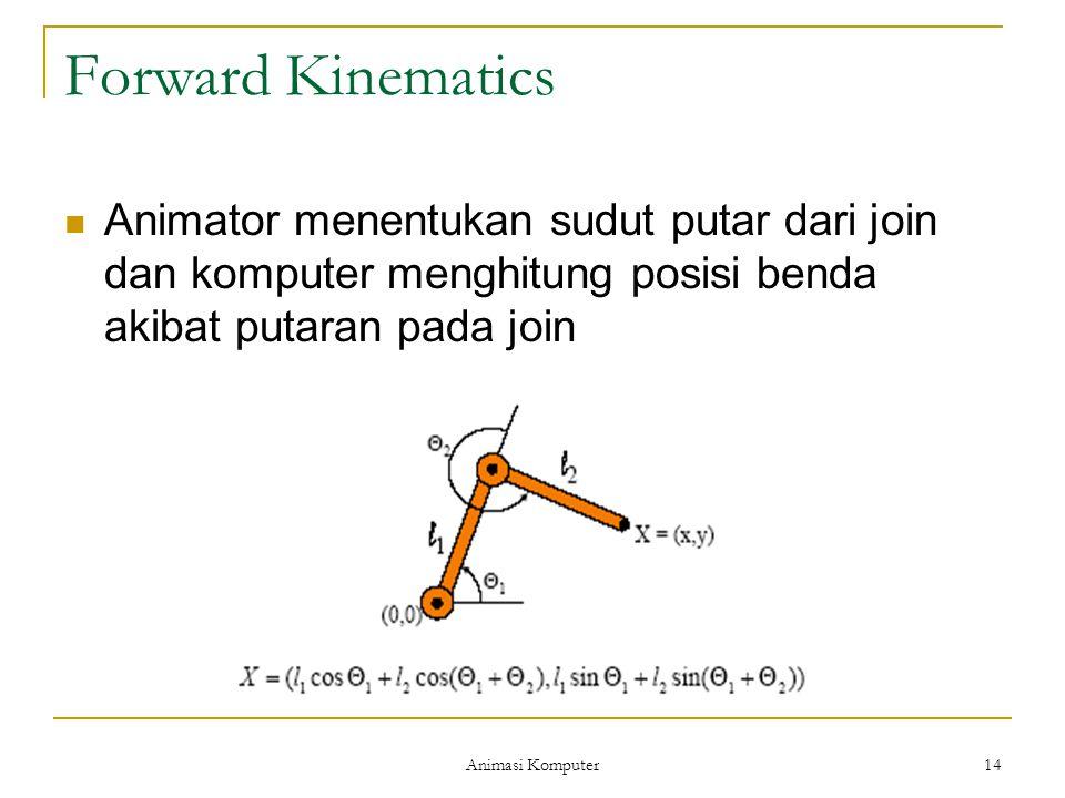 Animasi Komputer 14 Forward Kinematics Animator menentukan sudut putar dari join dan komputer menghitung posisi benda akibat putaran pada join