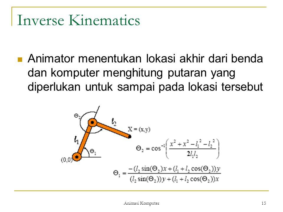 Animasi Komputer 15 Inverse Kinematics Animator menentukan lokasi akhir dari benda dan komputer menghitung putaran yang diperlukan untuk sampai pada l