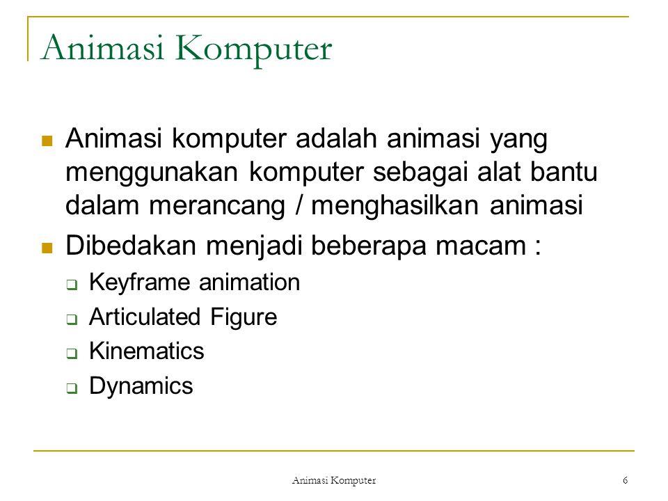 Animasi Komputer 6 Animasi komputer adalah animasi yang menggunakan komputer sebagai alat bantu dalam merancang / menghasilkan animasi Dibedakan menjadi beberapa macam :  Keyframe animation  Articulated Figure  Kinematics  Dynamics