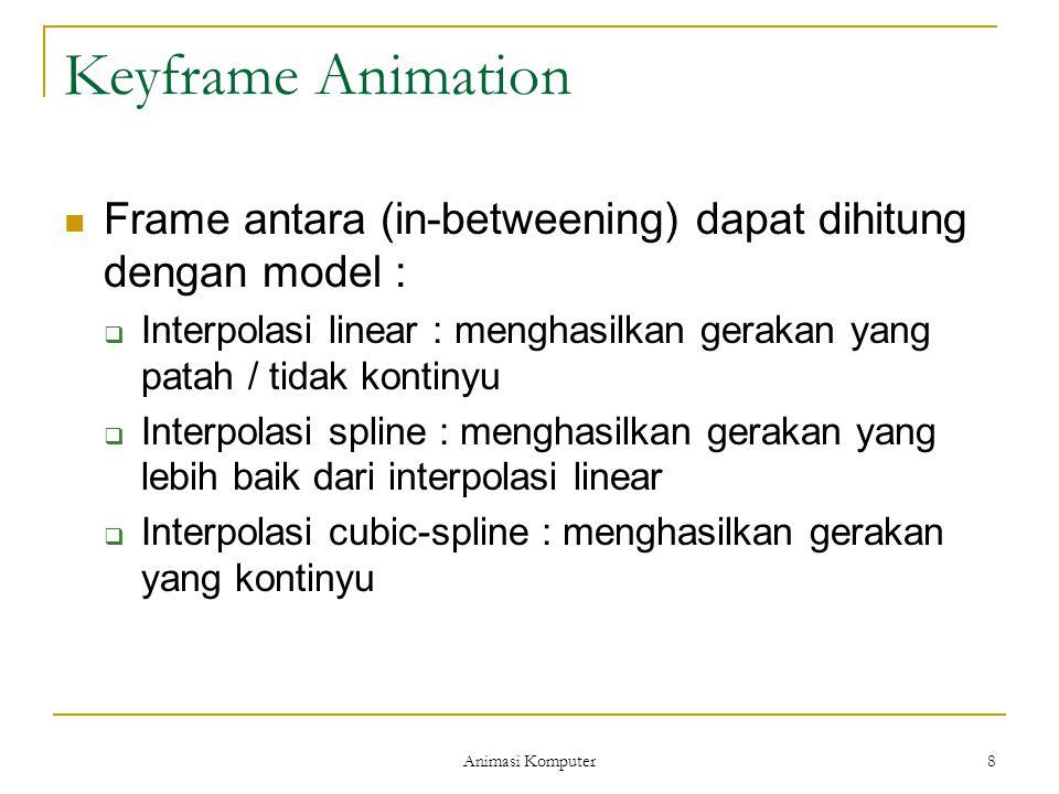 Animasi Komputer 8 Keyframe Animation Frame antara (in-betweening) dapat dihitung dengan model :  Interpolasi linear : menghasilkan gerakan yang patah / tidak kontinyu  Interpolasi spline : menghasilkan gerakan yang lebih baik dari interpolasi linear  Interpolasi cubic-spline : menghasilkan gerakan yang kontinyu