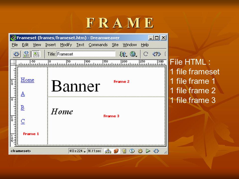 F R A M E File HTML : 1 file frameset 1 file frame 1 1 file frame 2 1 file frame 3