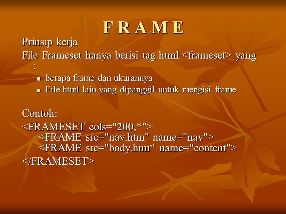 F R A M E Prinsip kerja File Frameset hanya berisi tag html yang : berapa frame dan ukurannya berapa frame dan ukurannya File html lain yang dipanggil