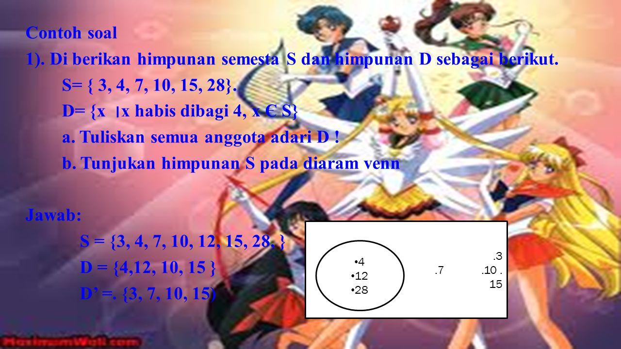 komplemen Komplemen dari sebuah himpunan A adalah himpunan dari elemen- elemen yang tidak termasuk A, yaitu, selisih dari himpunan semesta U dan A. Ki