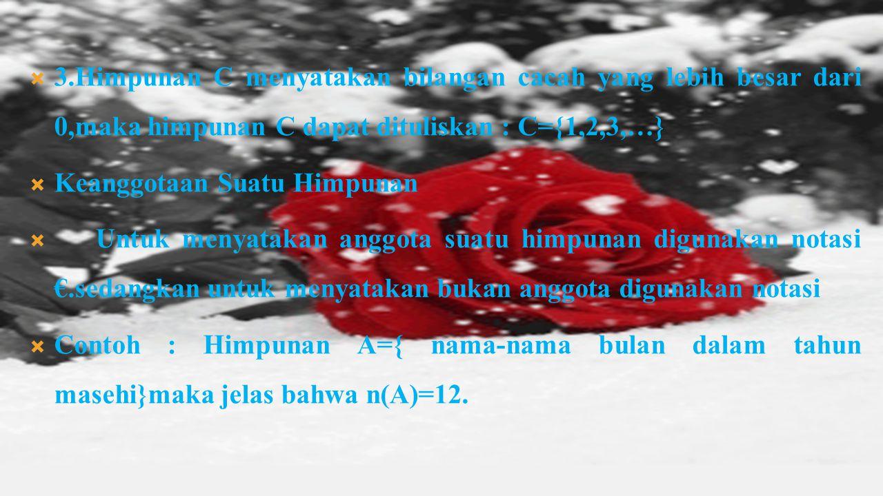  3.Himpunan C menyatakan bilangan cacah yang lebih besar dari 0,maka himpunan C dapat dituliskan : C={1,2,3,…}  Keanggotaan Suatu Himpunan  Untuk menyatakan anggota suatu himpunan digunakan notasi €.sedangkan untuk menyatakan bukan anggota digunakan notasi  Contoh : Himpunan A={ nama-nama bulan dalam tahun masehi}maka jelas bahwa n(A)=12.
