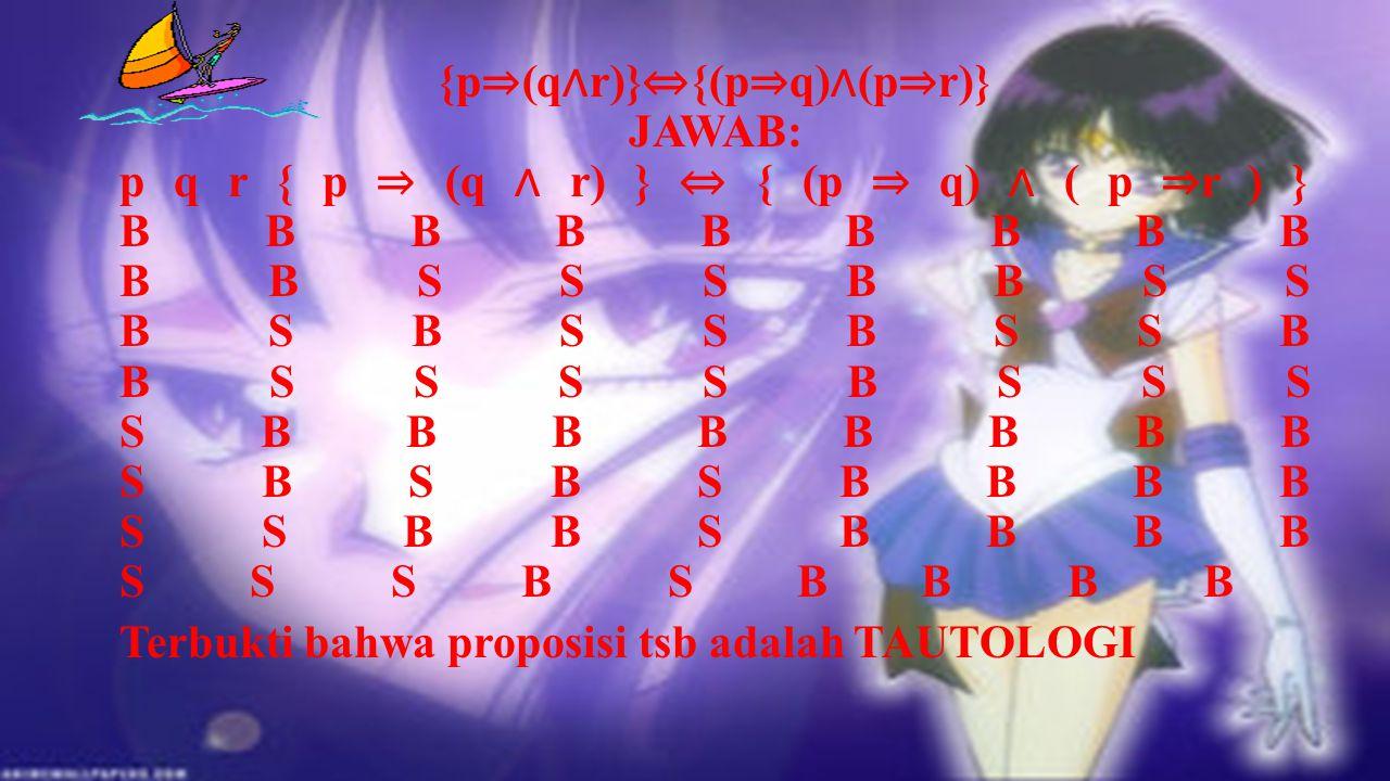 """1) Pembuktian """"TAUTOLOGI"""" {(pvq) ⇒ r} ⇔ {(p ⇒ r) ∧ (q ⇒ r)} JAWAB: p q r { ( p v q ) ⇒ r } ⇔ { ( p ⇒ r ) ∧ (q ⇒ r ) } B B B B B B B B B B B S B S B S"""