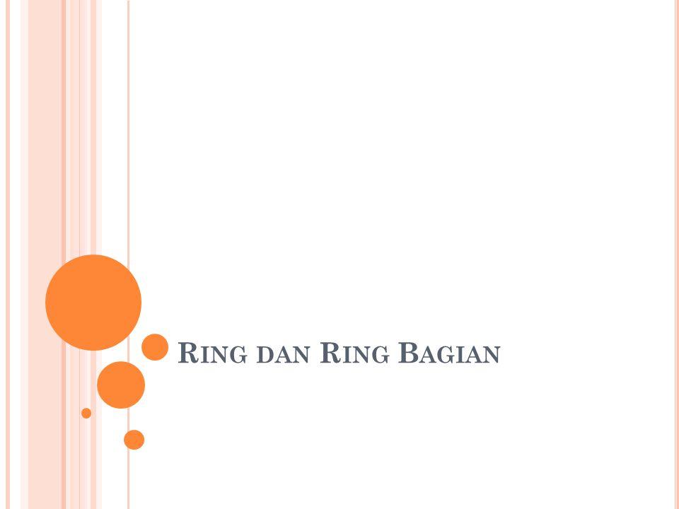 Contoh XI.3 Himpunan bilangan genap E membentuk ring bagian dari himpunan bulangan bulat Z.