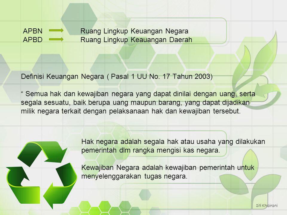 "APBN Ruang Lingkup Keuangan Negara APBDRuang Lingkup Keauangan Daerah Siti Khairani Definisi Keuangan Negara ( Pasal 1 UU No. 17 Tahun 2003) "" Semua h"