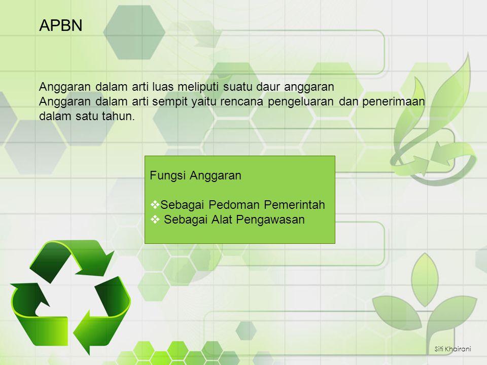 APBN Siti Khairani Anggaran dalam arti luas meliputi suatu daur anggaran Anggaran dalam arti sempit yaitu rencana pengeluaran dan penerimaan dalam sat