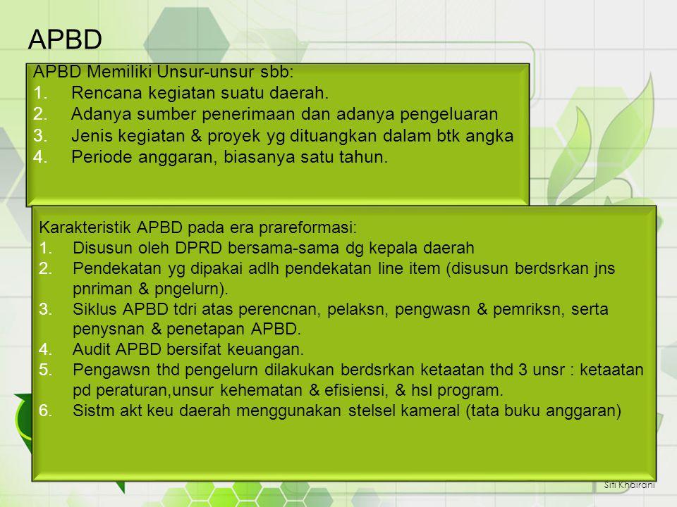 Pendapatan, dibagi menjadi tiga kategori: - Pendapatan Asli Daerah (PAD) - Dana Perimbangan - Pendapatan lain-lain yang sah Siti Khairani Bentuk APBD sekarang didasari pd Permendagri No.