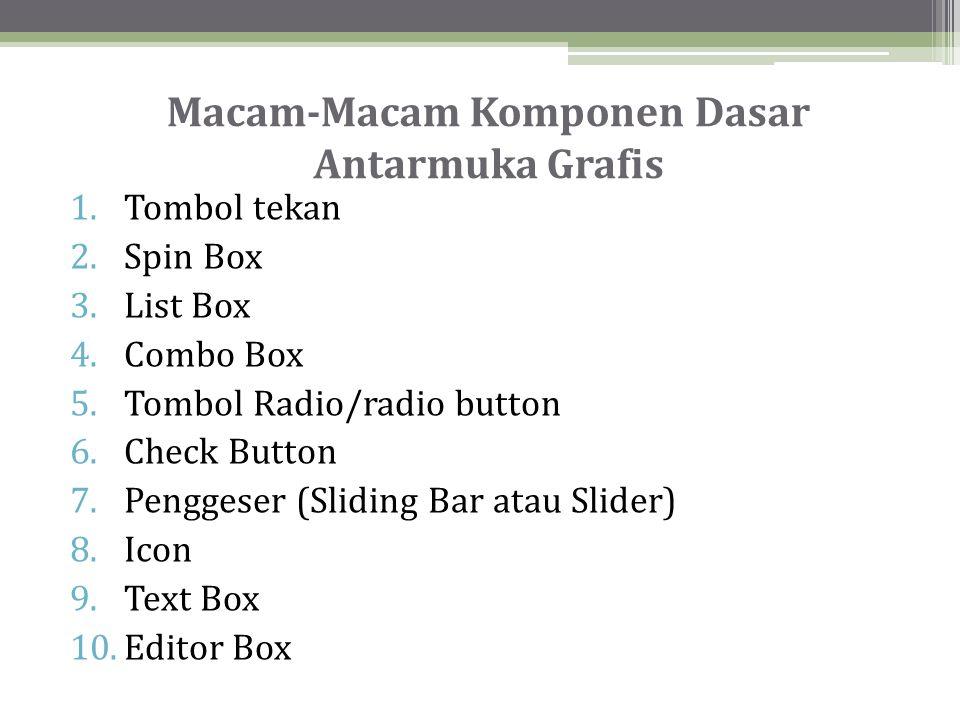 Macam-Macam Komponen Dasar Antarmuka Grafis 1.Tombol tekan 2.Spin Box 3.List Box 4.Combo Box 5.Tombol Radio/radio button 6.Check Button 7.Penggeser (Sliding Bar atau Slider) 8.Icon 9.Text Box 10.Editor Box