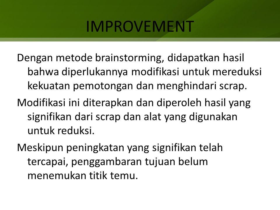 IMPROVEMENT Dengan metode brainstorming, didapatkan hasil bahwa diperlukannya modifikasi untuk mereduksi kekuatan pemotongan dan menghindari scrap.