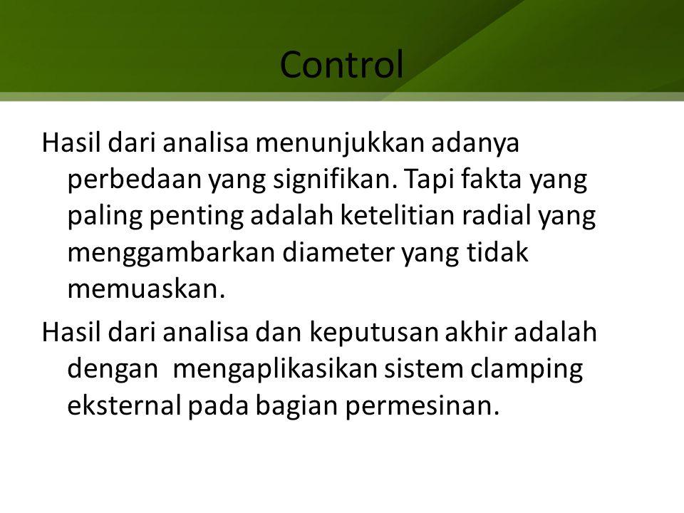 Control Hasil dari analisa menunjukkan adanya perbedaan yang signifikan. Tapi fakta yang paling penting adalah ketelitian radial yang menggambarkan di
