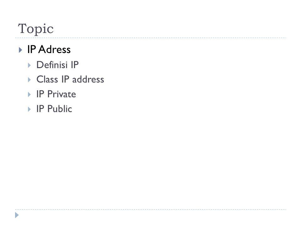 kelas IP Address Nilai maksimum setiap octat adalah 255, artinya bila kita hitung jumlah alamat IP yang ada adalah 255 x 255 x 255 x 255 = 4.228.250.625, maka untuk mempermudah pemakaian, IP address dikelompokkan dalam beberapa kelas yaitu kelas A, B, C, D dan E.