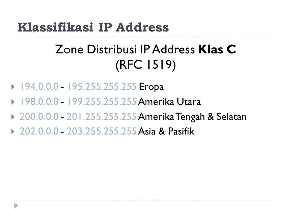 Klassifikasi IP Address  194.0.0.0 - 195.255.255.255 Eropa  198.0.0.0 - 199.255.255.255 Amerika Utara  200.0.0.0 - 201.255.255.255 Amerika Tengah &