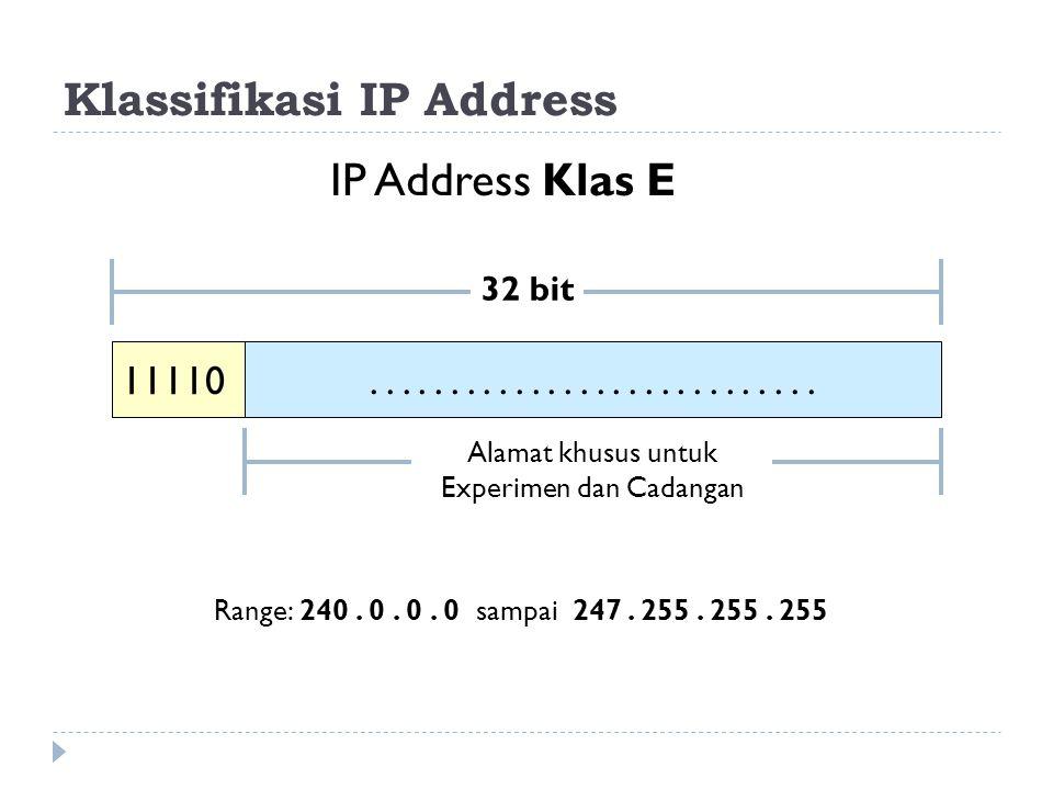 Klassifikasi IP Address IP Address Klas E 11110 32 bit.............. Alamat khusus untuk Experimen dan Cadangan Range: 240. 0. 0. 0 sampai 247. 255. 2