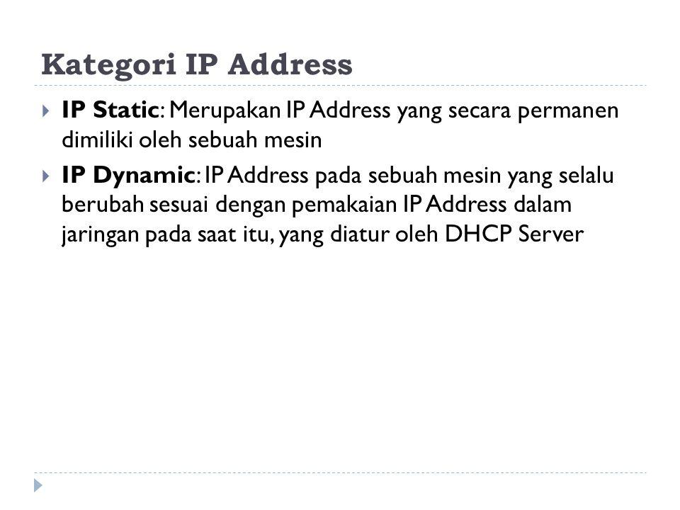 Kategori IP Address  IP Static: Merupakan IP Address yang secara permanen dimiliki oleh sebuah mesin  IP Dynamic: IP Address pada sebuah mesin yang