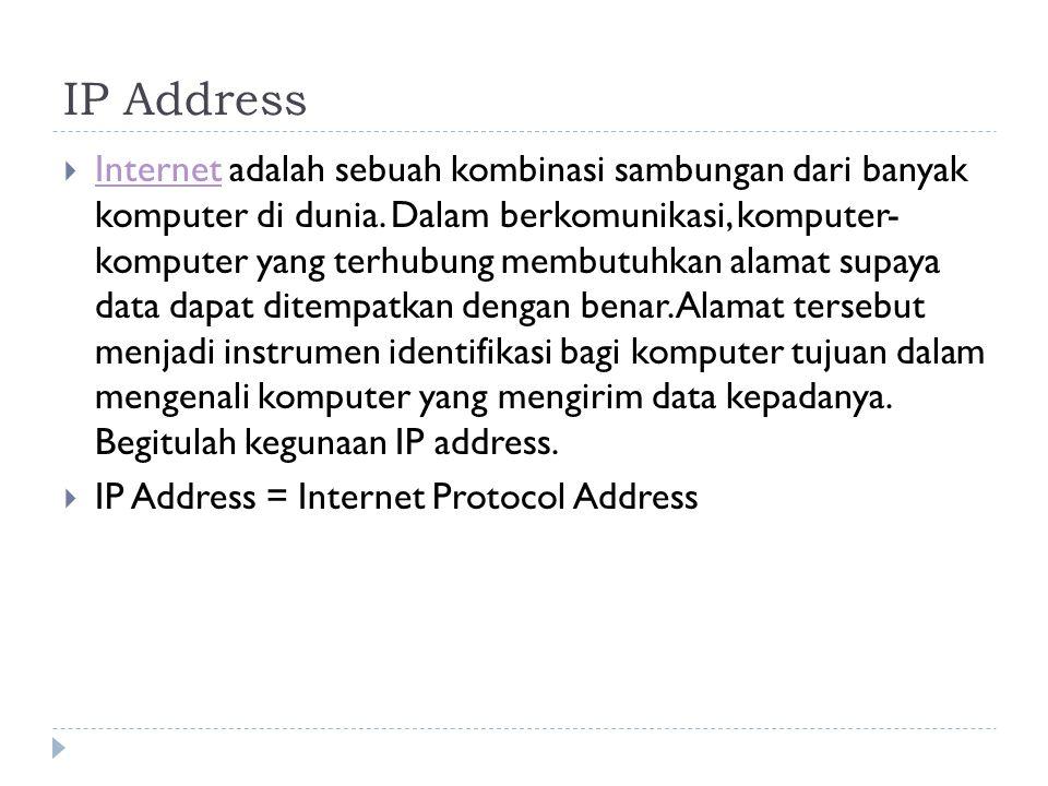 IP Address  suatu identitas numerik yang dilabelkan kepada suatu alat seperti komputer, router atau printer yang terdapat dalam suatu jaringan komputer yang menggunakan internet protocol sebagai sarana komunikasi