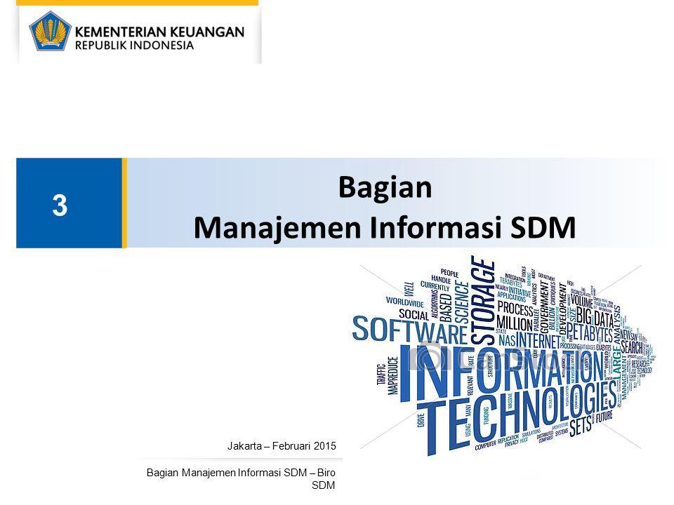 Jakarta – Februari 2015 Bagian Manajemen Informasi SDM – Biro SDM Bagian Manajemen Informasi SDM 3