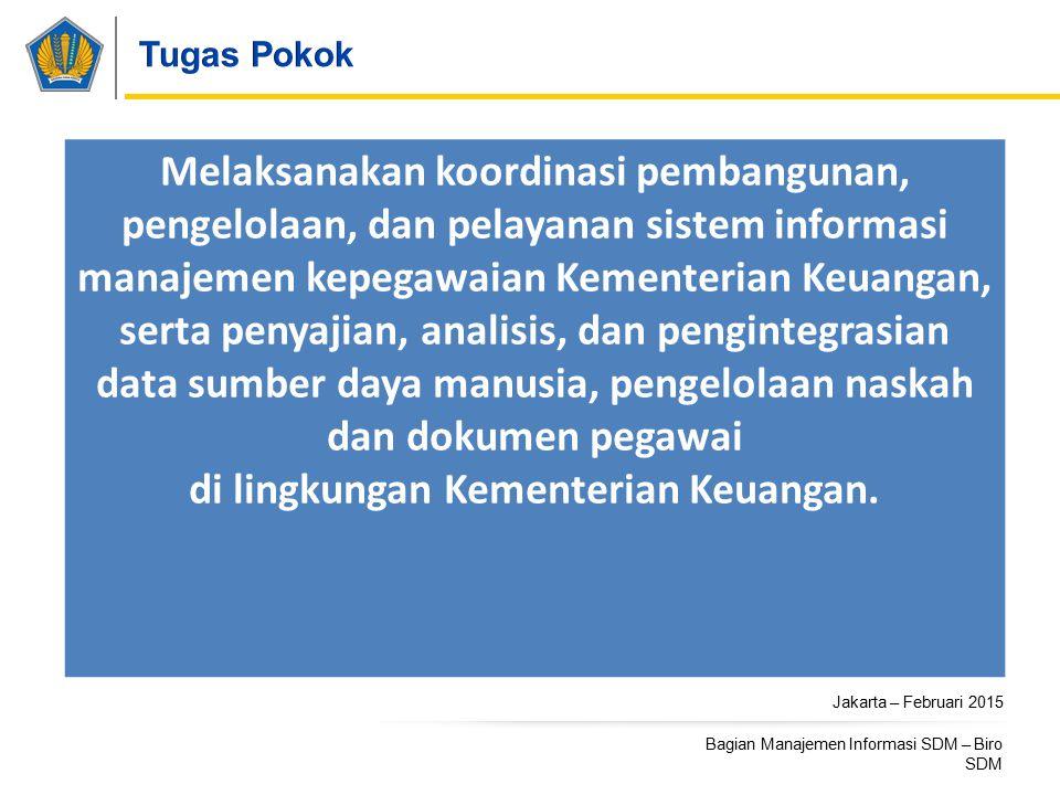 Jakarta – Februari 2015 Bagian Manajemen Informasi SDM – Biro SDM Melaksanakan koordinasi pembangunan, pengelolaan, dan pelayanan sistem informasi man