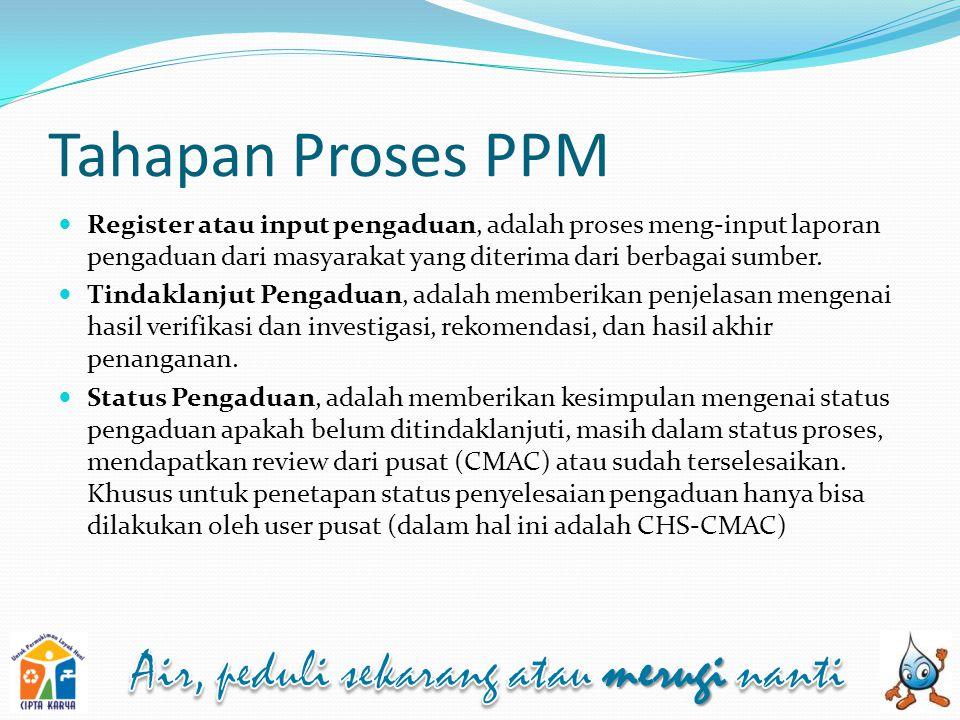 Tahapan Proses PPM Register atau input pengaduan, adalah proses meng-input laporan pengaduan dari masyarakat yang diterima dari berbagai sumber.