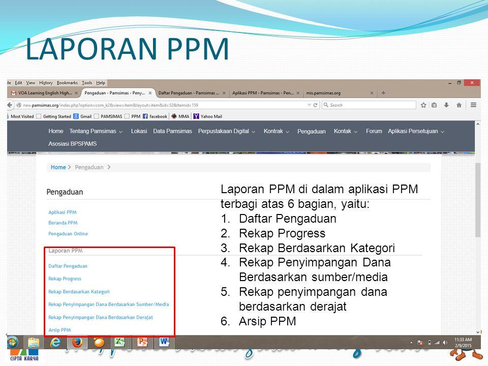 LAPORAN PPM Laporan PPM di dalam aplikasi PPM terbagi atas 6 bagian, yaitu: 1.Daftar Pengaduan 2.Rekap Progress 3.Rekap Berdasarkan Kategori 4.Rekap Penyimpangan Dana Berdasarkan sumber/media 5.Rekap penyimpangan dana berdasarkan derajat 6.Arsip PPM