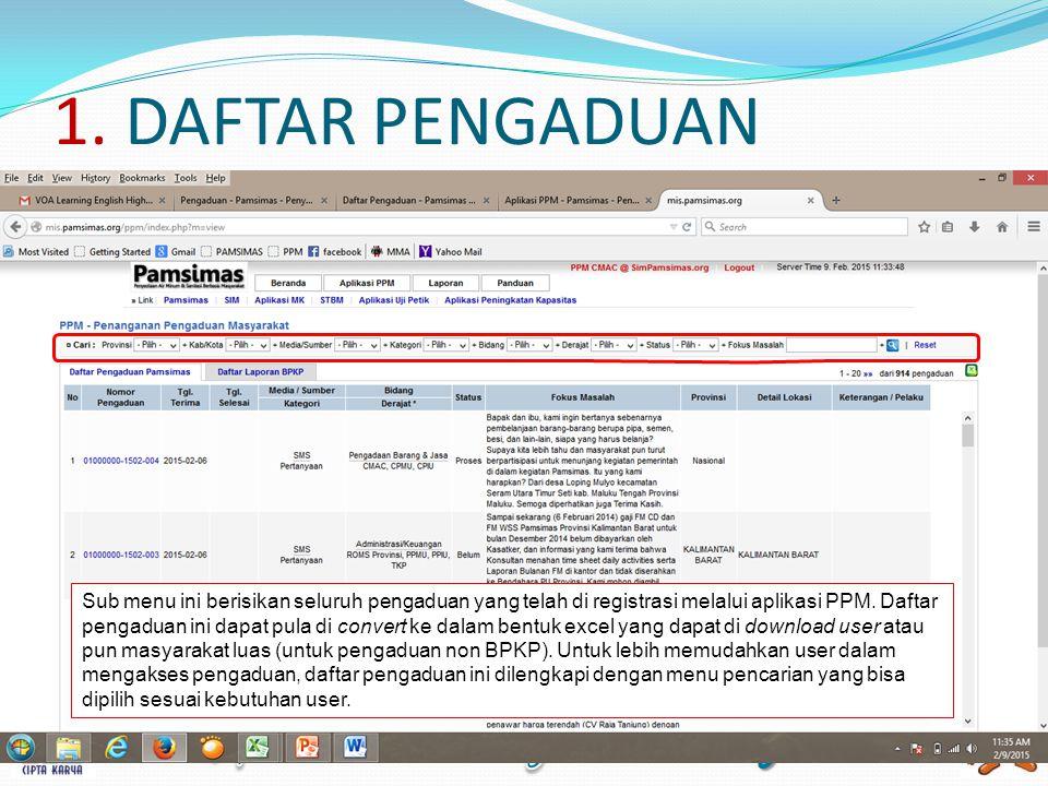 1. DAFTAR PENGADUAN Sub menu ini berisikan seluruh pengaduan yang telah di registrasi melalui aplikasi PPM. Daftar pengaduan ini dapat pula di convert