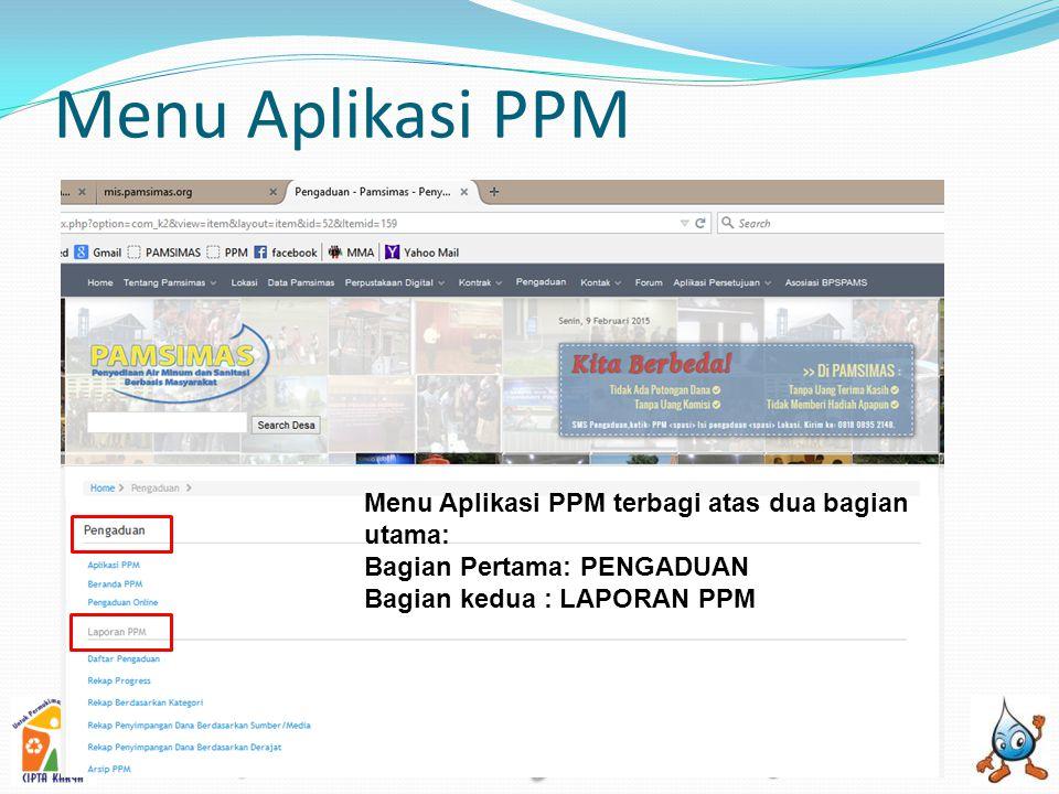 Menu Aplikasi PPM Menu Aplikasi PPM terbagi atas dua bagian utama: Bagian Pertama: PENGADUAN Bagian kedua : LAPORAN PPM